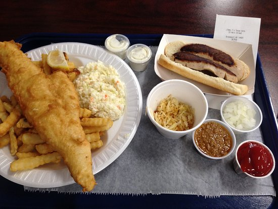 Brockport, NY: Fish Fry Friday dinner & a White Hot w/ sauerkraut, onions, and meat sauce