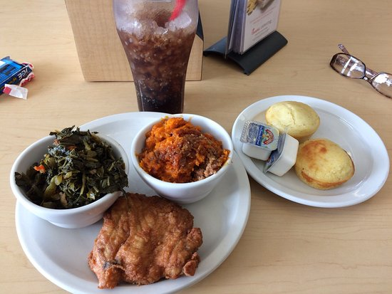 Morrow, GA: Nice surprise...chicken breast with sweet potato soufflé, collard greens and corn muffins.