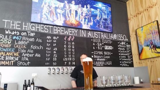 Dinner Plain, Australia: Blizzard Beers, The pint is the Belgian, The brewer is standing behind his product