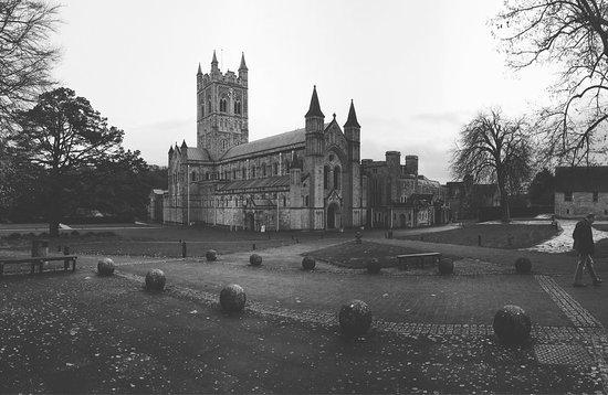 Buckfastleigh, UK: Buckfast Abbey in all her grandeur this bleak winter day