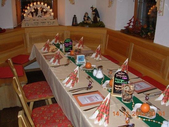 Lenggries, Tyskland: Tischdekoration für Feier