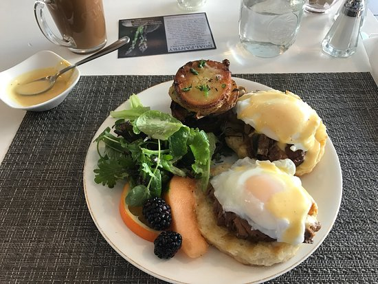 Smiths Falls, Canada: Eggs Benny with Braised Beef Brisket.