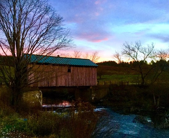 Johnson, VT: scribner bridge sunset view