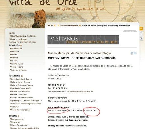 Orce, Spanien: ¡Horario publicado en su página web!