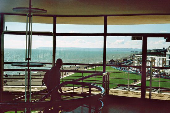 Bexhill-on-Sea, UK: From inside the Pavillion. Fiji slide film AE1 camera, Soligor 105mm f2.8 soft portrate lens.