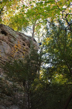 Rockbridge, OH: The cliffs and rappelling off of them will take your breath away.
