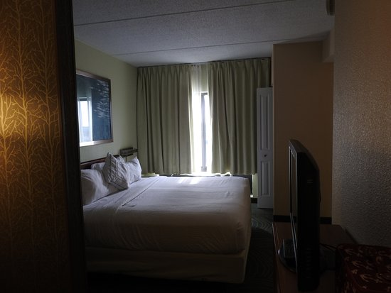 SpringHill Suites Austin South: Bedroom Area. Notice Small Area Between Bed  And Credenza Rm