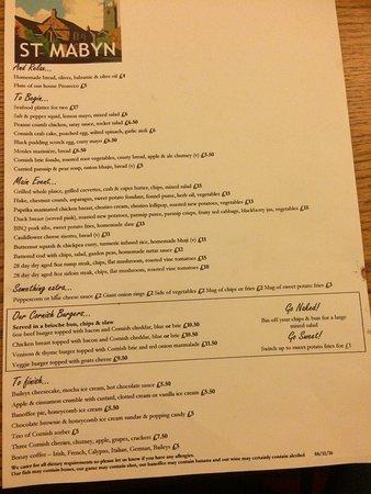 St. Mabyn, UK: Menu, food and bar