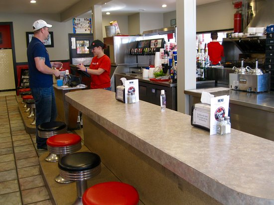 Brigham City, UT: VIEW OF COUNTER AND COOKING AREA