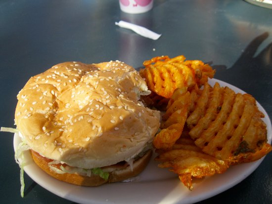 Brigham City, UT: GRILLED CHICKEN SANDWITCH WITH WAFFLE FRIES