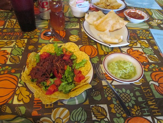Corrales, NM: Salad with Carne Adovada and sopapilla's