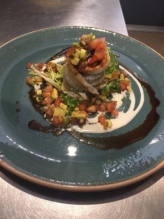 Heidelberg, Australia: Amazing  rolled garfish fillet dish tahini molasses pomegranate dressing