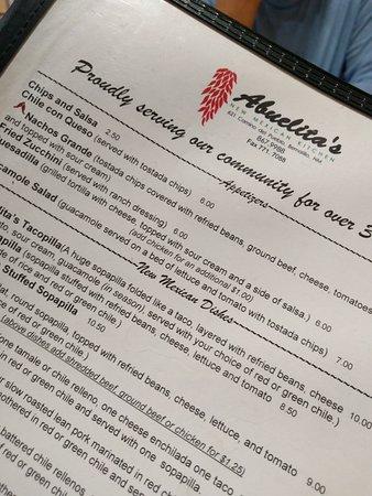 Bernalillo, Nuevo Mexico: The menu