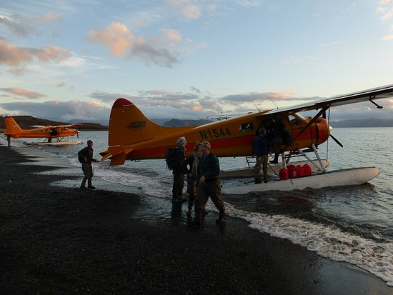 Kodiak, AK: Loading two Beavers on the beach.