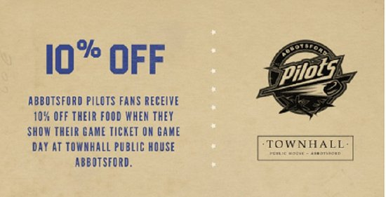 Abbotsford Pilots Game Day Discount At Townhall Public House Abbotsford