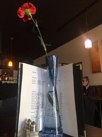 Table decor and wine menu, Bisque 307 14th Street, Courtenay, British Columbia V9L 6P5