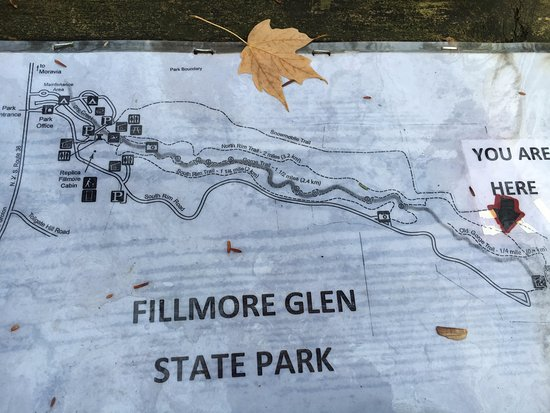 Moravia, NY: Map that you will find on the picnic table on the North Rim Trail