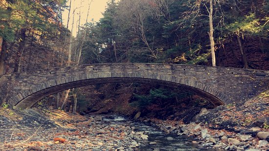 Moravia, NY: Arch bridge--pass this and you will get to the waterfall