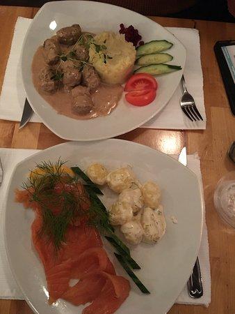 Swedish meatballs and marinated salmon