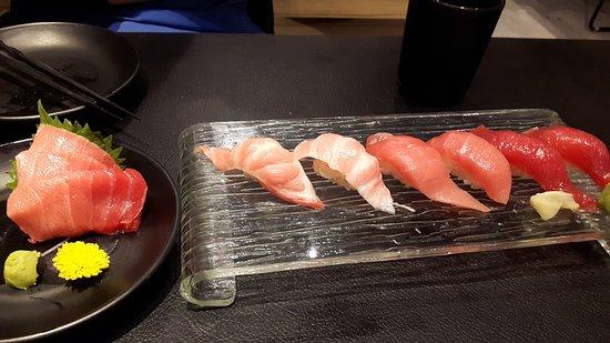 Variety Of Bluefin Tuna Hon Maguro Sashimi Cuts Including Toro Picture Of Senmi Sushi Bar Singapore Tripadvisor