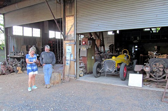Jerome, AZ: Don Robertson's garage with his 1928 Studebaker Indy Race Car.
