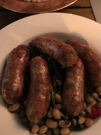 """Zaytinya: Pork sausage over beans - part of  """"Chef's experience"""""""