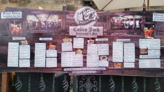 Calico Jack Restaurant & Bar: menu board