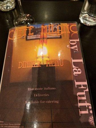 Caffe Milano Tucson Dinner Menu