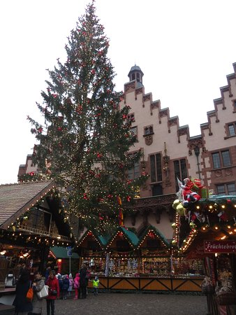 frankfurt christmas market decorated christmas tree with the town hall in the background