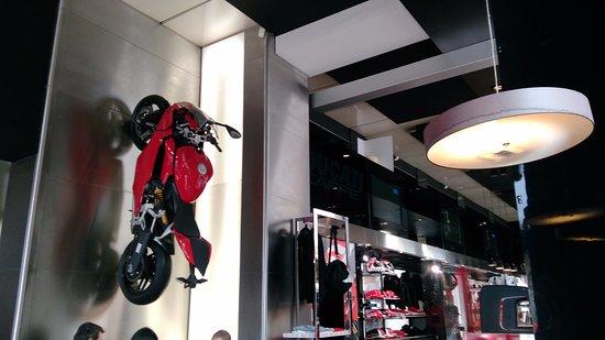 déco moto accroché sur le mur   Picture of Ducati Caffe' Roma
