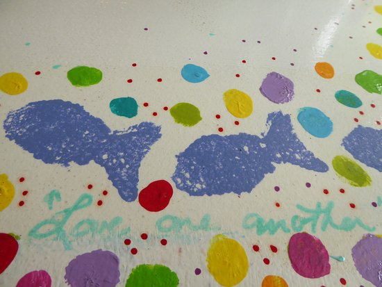More hand-painted table - wise words - Picture of Midway Cafe
