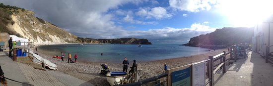 West Lulworth, UK: Panorama shot of Lulworth Cover