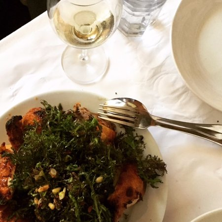 Zuni Cafe: Roast chicken with mustard greens, currants, pine nuts and croutons