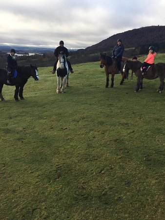Castle Rednock Trekking in the Trossachs: Top of the hill with Lake of Menteith as backdrop