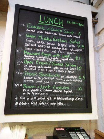 Shanagarry, Ireland: Stephen Pearce Shop and Cafe - The menu, limited but inventive and tasty
