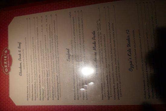 Fairfax, VA: Dinner menus and my ginger rita
