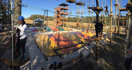 Archdale, NC: Panoramic, 1st Level of Kersey Valley High Ropes Course.