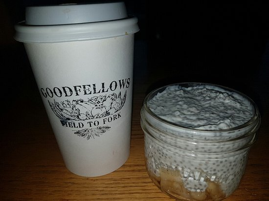 Rockwood, Canada: Latte and a Chia pudding ( so very good) This one was spiced pears