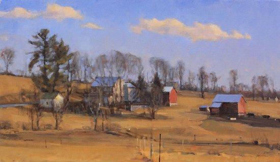 "Essex, CT: James Coe, ""Hillside Farm, February Light,"" oil on canvas"