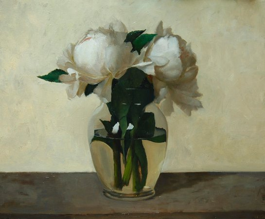 "Essex, CT: Rodrigo Mateo, ""White Peonies,"" oil on panel"