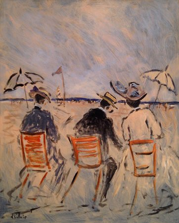 "Essex, CT: Henry St. Clair, French (1899 - 1990), ""Elegant People on the Beach,"" oil on panel"