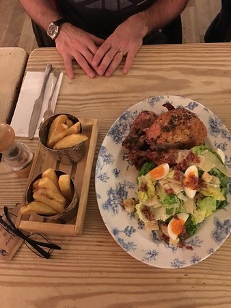 Brancaster Staithe, UK: The amazing whole roast chicken with Caesar salad, to share.