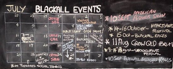 "‪‪Blackall‬, أستراليا: Events Calendar - provided within the coffee area for anyone wanting to know ""what happens here?‬"