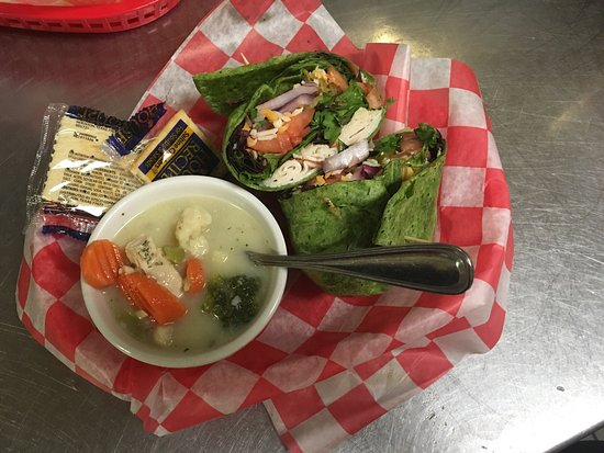 Bellevue, OH: California Turkey Wrap in a Spinach Tortilla served with a chicken dumpling soup