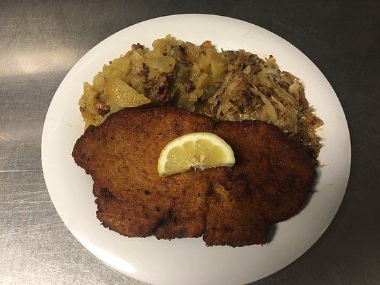 Bellevue, OH: Wiener Schnitzel with German Potato Salad and Sauerkraut
