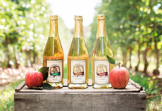 3 of the amazing ciders offered at the tasting room of Summerland Heritage Cider Co.