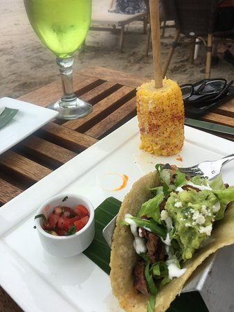 Beef tacos on the beach