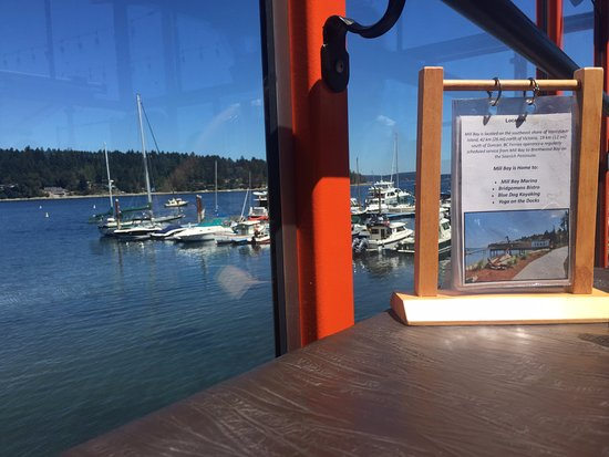 View of Mill Bay Marina from our seat at Bridgemans Bistro 740 Handy Rd, Mill Bay, British Colum