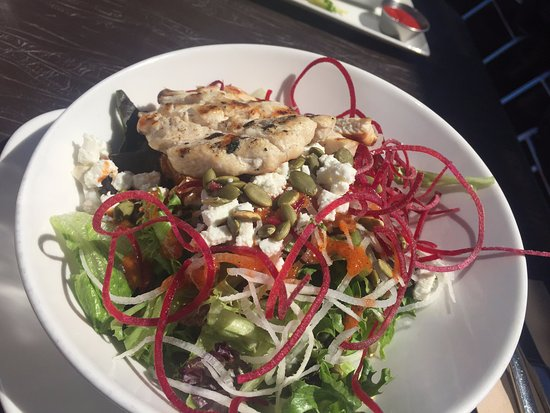 Salad with a chicken breast, Bridgemans Bistro 740 Handy Rd, Mill Bay, British Columbia