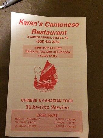 Kwan's Restaurant: The menu